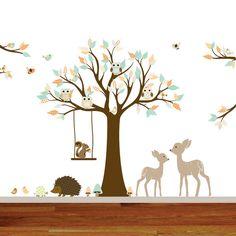 Vinyl Wall decal stickers swing tree set with,owls,birds,deer,woodland animals nursery wall decal