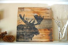 Weathered Black Moose Silhouette Sign on Montana by salvagesigns