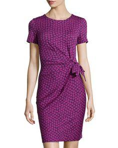 Zoe Floral-Check Ruched Dress, Rose  by Diane von Furstenberg at Neiman Marcus Last Call.