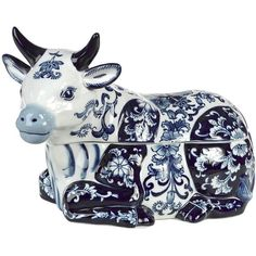 POLS POTTEN Cow Porcelain Cookie Jar featuring polyvore, home, kitchen & dining, food storage containers, decor, sculptures and cow cookie jar