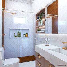 """EMILLY NUNES   ARQUITETA on Instagram: """"Banheiro do casal   Amo banheiro delicado! Nesse projeto trabalhamos um mix de cores e texturas. Metais dourados, revestimento marmorizado…"""" Mix, Alcove, Bathtub, Bathroom, Instagram, Metals, Tiling, Washroom, Couple"""