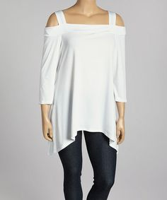Another great find on #zulily! White Cutout Sidetail Tunic - Plus by Come N See #zulilyfinds