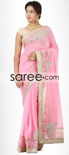 PINK GEORGETTE SAREE WITH SEQUINS WORK-BY ASOPALAV  #Saree #ChiffonSarees  #GeorgetteSarees #IndianSaree #Sarees  #SilkSarees #PartywearSarees #WeddingSarees #BuyOnline #OnlieSarees #NetSarees #DesignerSarees #SareeFashion