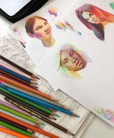 Sketchbook Drawings, Drawing Sketches, Drawing Faces, Drawing Tips, Color Pencil Art, Colored Pencil Portrait, Sketchbook Inspiration, Art Tutorials, Painting Tutorials