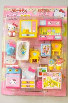 """Hello Kitty Miniature Toy """"My House"""" Garden Living Room Bathroom Bedroom Disney Princess Room, Princess Toys, Hello Kitty Rooms, Hello Kitty My Melody, Hello Kitty Collection, Barbie Toys, Mini Things, Cute Toys, Toys For Girls"""