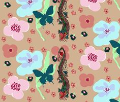 floral dragon fabric by paragonstudios on Spoonflower - custom fabric