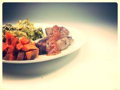 Wakanui rump steak with homemade tomatoe sauce served with polenta broccoli and roast Kumara. A classic with a twist.
