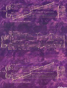 Fabric ~ Rhapsody Staffs & Scales in purple