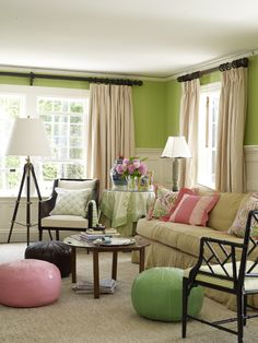 I spy some Sister Parish fabric. What a happy room!