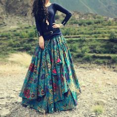 Free Flower Print Long Floor Length Cotton Linen Autumn Skirt For Women Winter Irregular Floral Plus Size Skirts Indian Fashion, Boho Fashion, Womens Fashion, Fashion Styles, Dress Fashion, Steampunk Fashion, Fashion Fall, Gothic Fashion, Unique Fashion
