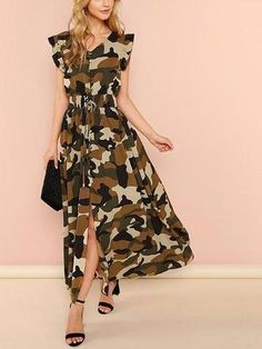 Women Glamorous Camouflage Fit and Flare Slit V Neck Cap Sleeve Natural Multicolor Maxi Length Ruffle Armhole Shirred Waist Split Camo Utility Dress Camo Dress, Maxi Shirt Dress, Ruffle Dress, Robe T-shirt Large, Maxi Robes, Maxi Dresses, Long Dresses, Summer Dresses, Relaxed Outfit