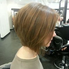 Soft angled bob and caramel lowlights. Lovely.