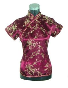 4ceee7e8fd8f21 NAME YOUR OWN PRICE -Stylish Pink Traditional Chinese Silk Satin Blouse  Women Summer Vintage Shirt Tops New Flower Clothing S M L XL XXL WS012