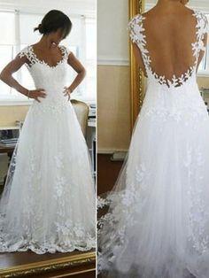 Scoop A-line/Princess Applique Lace Kapell Tåg Wedding Dress