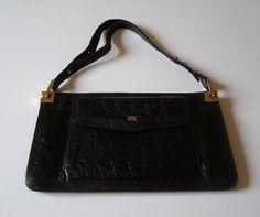 Grand sac pochette en cuir et croco noir - pouch 60's - sac à main haute couture  André Sauzaie Paris
