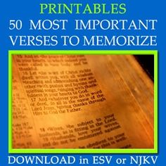 50 Most Important Scripture Bible Verses to Memorize | To Love, Honor and Vacuum - I would like to start a family memory verse each week, and this is a great list!