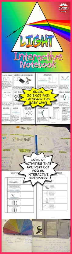 Your students will love these activities for their science interactive notebooks. Properties of light, luminous and non-luminous objects, reflection, refraction, mirrors, lenses, transparent, translucent and opaque are all covered.
