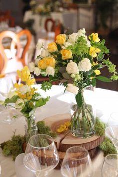 花どうらく/hanadouraku/丸太/モス/ウエディング/wedding/ナチュラルウエディング/naturalwedding/センターピース/ゲストテーブル