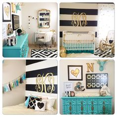 Gold Nursery Design - we LOVE the turquoise accents! It's no secret that we are obsessed with gold nursery design around here, & it's pretty obvious with all of our gold crib bedding-Check out this amazing nursery Gold Kindergarten, Kids Bedroom, Bedroom Decor, Bedroom Ideas, Nursery Ideas, Trendy Bedroom, Aqua Nursery, Tiffany Blue Nursery, Turquoise Nursery