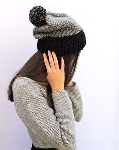 aebe3a27ede Wool slouchy beanie hat Gray beanie men Beanie with pom pom Grey hand knit  hat Womens hats Bobble hat Chunky ski hat Gray Black Warm beanie
