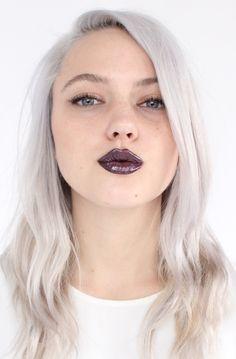 silver hair dark lips