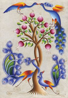 Peacock Art...Peacocks & Pomegranate Tree by Artist Seeroon Yeretzian...