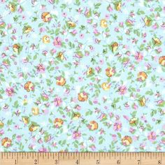 Timeless Treasures Soleil Mini Floral Sky from @fabricdotcom  From Timeless Treasures, this fabric is perfect for quilting, apparel and home decor accents. Colors include green, pale yellow, orange, white and shades of pink on light blue.