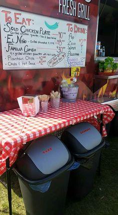 Food truck setup - menu, condiment table,  wooden cutlery