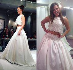 Two Pieces Wedding Dresses Lace Satin Sequined Crystal Beaded Runway Western Bridal Ball Gowns Spring Arabic Vestidos De Novia