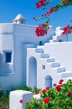 Traditional accommodation in Koufonissia Cyclades Aegean Sea theses buildings are pretty and are pained all white, its in the summer with the bright flowers that ad colours.