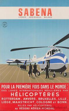 SABENA (Belgium) - Sabena Airlines, Helicopter  #Vintage #Travel