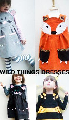 Also MEINE Töchter würden vermutlich kreischend am Boden liegen bei diesen Kleidern: Katzi, Mausi, Bienchen und sogar ein Fuxi-Kleidi....