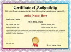 Artist maker design download and print your free certificate of original painting template authenticity guarantee template free certificate templates you can add text yelopaper Choice Image