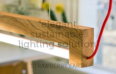 Ninebyfour suspended pendant lighting is a led tube light lamp, designed and made from a single piece of local wood. Energy efficient and sustainable to illumin