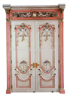 French Rococo Style Royal Wood Carved Double Entrance Doors