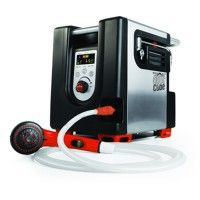 This 18,000 BTU liquid propane hot water generator raises source water temperature up to 45 degrees F and is the most advanced in the world today. This great new product is both digital and cordless, allowing you to enjoy a hot shower even in the most remote places. The internal battery will power through 8 five minute showers and the unit can be hooked up to AC or DC power as well with included cables. A 1 lb disposable cylinder connects directly to the included pre-calibrated regulator to…