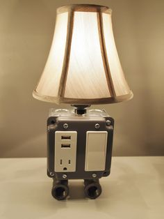 Gray Vintage table or desk lamp with USB charging station