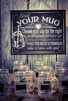This listing is for a set of 48 - 16 oz. handled mason jar glasses with chalkboard labels. Jute twine is also placed on each handle for additional rustic look. All you have to do is open these up and they are reception ready!  These are great for wedding favors, birthdays, endless possibilities. These are clear glass and come with chalkboard labels that are made from a heavy adhesive backed vinyl.  If you need more than 48, please see my other listings for larger quantities or message us for…