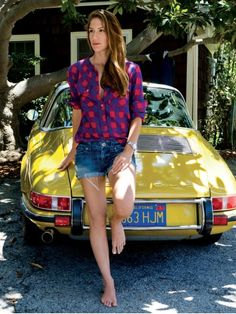 Inspiration: Just chillin' in plaid with my Porsche Carrera ... how I'd like to spend Sunday morning.