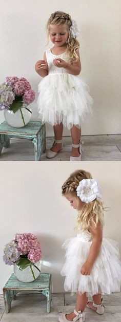 white lace flower girl dress, short flower girl dress, cute white flower girl dress