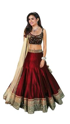 Buy Maxthon Fashion Woman's Maroon Banglori Silk Embroidery & Hand Work Unstitched Free Size Lehenga Choli (indian Traditional Ghagra Choli) Online at Low Prices in India - Paytm.com