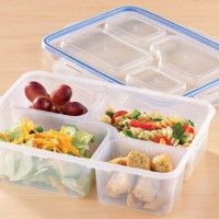 4 compartment, microwave-safe food storage