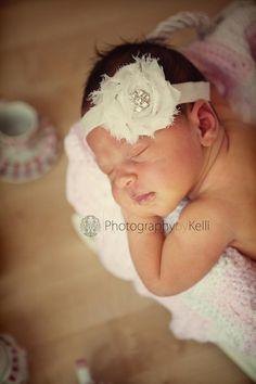 30% OFF - Baby girl headbands - Baby Headband - Ivory shabby chic flower on ivory stretch headband - flower headband - baby headband
