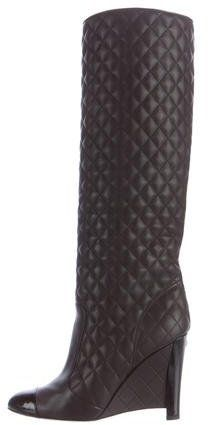 cb5b3999da1b Chanel Quilted Cap-Toe Wedge Boots
