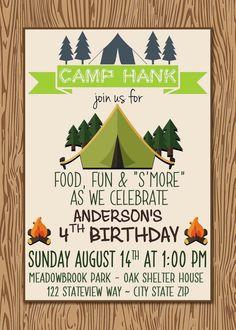 Camp Themed Birthday Invitation