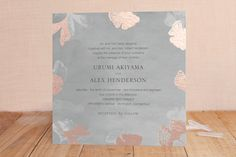 """""""Ginkgo Flutters"""" - Rustic, Modern Foil-pressed Wedding Invitations in Mint by Monica Cheng."""