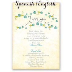 Pequeñas Flores Spanish Wedding Invitation I Print Your Wording In Spanish  On One Side And English