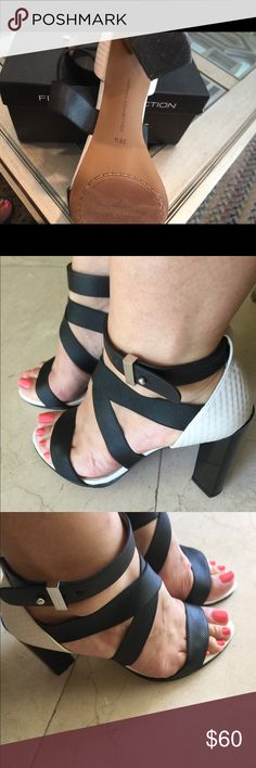 PM EDITOR & HOST PICK French Connection sexy Hills 🌹PM EDITOR🌹 & HOST PICK 🔥🎉🎊🔥Sexy black & white French Connection sandals in a very good condition, 4״ hills, comes with the box 🌹 French Connection Shoes Heels