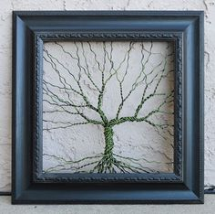 Items similar to Original Art Large Abstract Tree Sculpture . Unique wire tree on vintage ornate shabby style salvaged black frame on Etsy Tree Wall Art, Wood Wall Art, Original Art, Original Paintings, Wire Trees, Metal Tree, Wire Art, Abstract Sculpture, Shabby