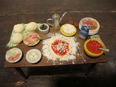 dollhouse Miniature table set up prepare the italian pizza by bagusitalyminiatures on Etsy https://www.etsy.com/listing/203910330/dollhouse-miniature-table-set-up-prepare